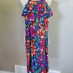 Warehouse Bright floral Bandeau Frill dress